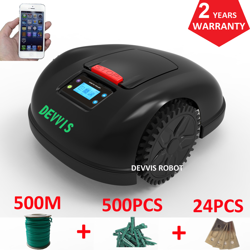 China DEVVIS Robotic Lawn Mower E1600 Area up to 2600m2 with total 500m wire+500pcs pegs+24pcs blade