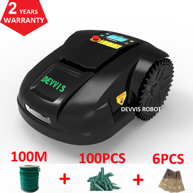 Two Year Warranty DEVVIS Robot Lawn Mower E1800T With 6.6ah Lithium,one charge 700m2